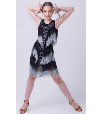 """Сукня для латиноамериканських танців """"Апачі"""" №222 (з гіпюром)"""