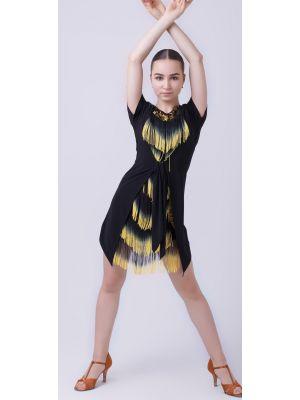"""Сукня для латини """"Гамма"""" №223 (масло, бахрома спектр)"""