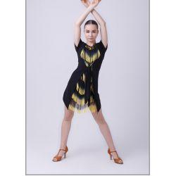 "Платье для латины ""Гамма"" №223 (масло, бахрома спектр)"