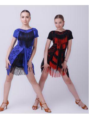 """Сукня для латини """"Мозаїка"""" №224 (бахрома спектр)"""