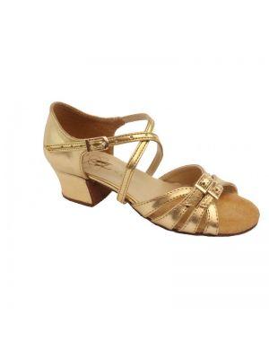 Туфли для бальных танцев на девочку Club Dance: Б-2 золотая кожа