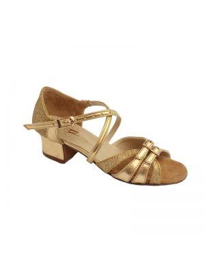Туфлі для бальних танців на дівчинку Club Dance: Б-2 золота шкіра + блискітки