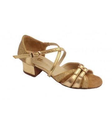 Туфли для бальных танцев на девочку Club Dance: Б-2 золотая кожа + блестки
