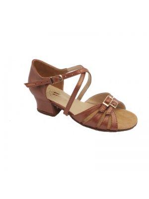 Туфли для бальных танцев на девочку Club Dance: Б-2 коричневая кожа