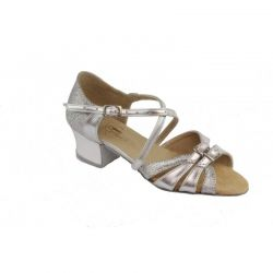 Туфли для бальных танцев на девочку Club Dance: Б-2 кожа серебро + блестки