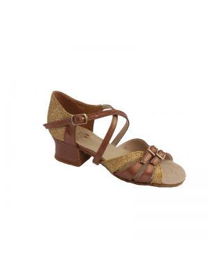 Туфлі для бальних танців на дівчинку Club Dance: Б-2 коричнева шкіра + блискітки