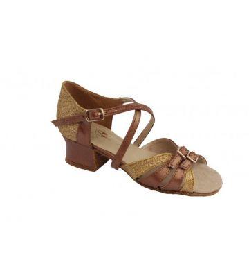 Туфли для бальных танцев на девочку Club Dance: Б-2 коричневая кожа + блестки