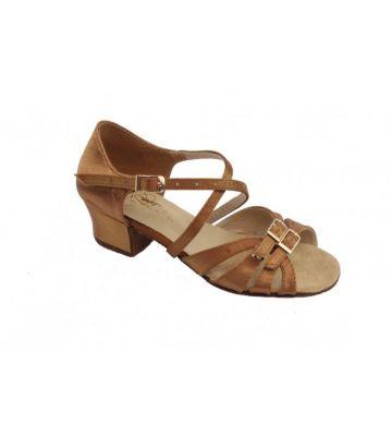 Туфли для бальных танцев на девочку Club Dance: Б-2 бежевый сатин