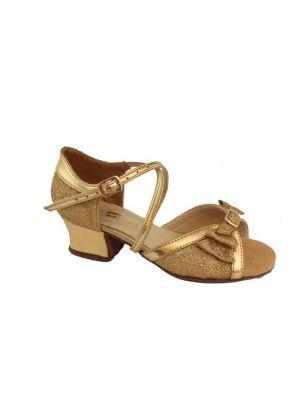 Танцювальні туфлі девачковие Club Dance: Б-4 золота шкіра + блискітки