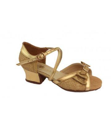 Танцевальные туфли девачковые Club Dance: Б-4 золотая кожа + блестки