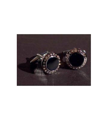 Запонки фрачные черный с кристаллами Chrisanne Clover