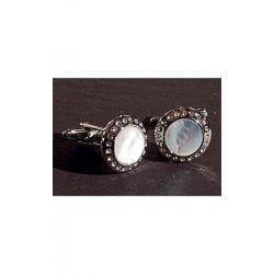 Запонки фрачные белый с кристаллами Chrisanne Clover