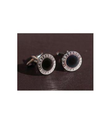 Запонки фрачные серебро/оникс черный Chrisanne Clover