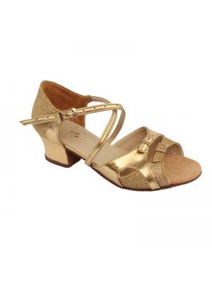 Танцювальні туфлі девачковие Club Dance: Б-8 золота шкіра + блискітки