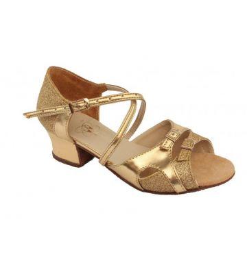 Танцевальные туфли девачковые Club Dance: Б-8 золотая кожа + блестки