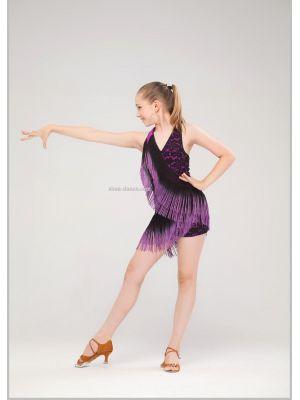 Сукня для танців з бахромою однотон № 220/1