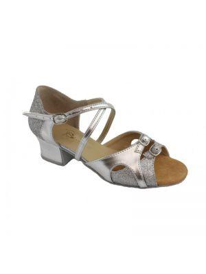 Танцювальні туфлі девачковие Club Dance: Б-8 срібло шкіра + блискітки
