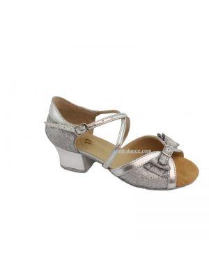 Танцевальные туфли девачковые Club Dance: Б-4 серебряная кожа с блестками
