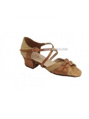 Туфли для бальных танцев на девочку Club Dance: Б-2 бежевый сатин и блестки