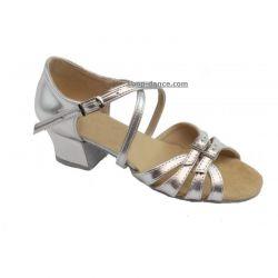 Туфли для бальных танцев на девочку Club Dance: Б-2 кожа серебро