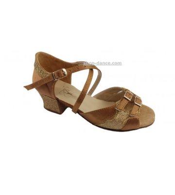 Обувь для девочек Club Dance: Б-3 бежевый сатин+блестки