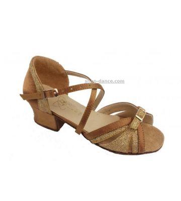 Туфли для бальных танцев на девочку Club Dance: Б-20 бежевый сатин и блестки
