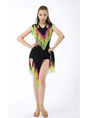 Майка танцювальна №368 з різнобарвною бахромою