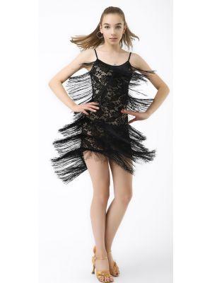 Сукня для латини №228 (чорна бахрома)