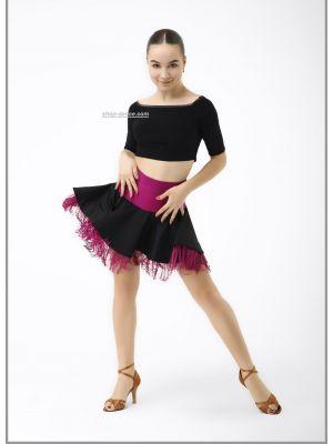 Юбка для танцев №470/1 (черн. бахрома)