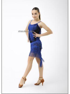Сукня для латини №228 / 1 (кольор. Бахрома)