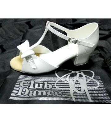 Танцевальные туфли девачковые Club Dance: Б-28а белый лак