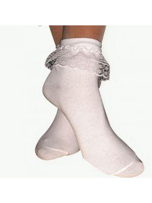 Шкарпетки білі бавовняні з рюшів для бальних танців