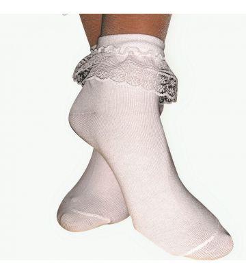 Носочки белые хлопок с рюшей для бальных танцев