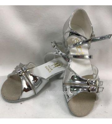 Туфли для бальных танцев на девочку Club Dance: Б-2 зеркальное серебро