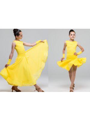 Сукня для бальних танців №882 (з 2-ма спідницями, набивний гіпюр)