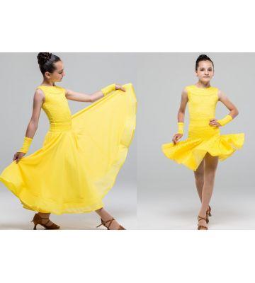 Плаття для бальних танців бейсик №882 ( з двома спідницями, набивний гіпюр)