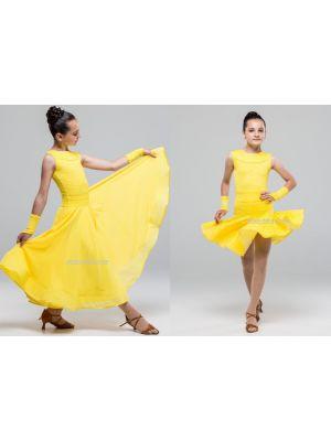 Платье для бальных танцев №882 (с 2-мя юбками, набивной гипюр)