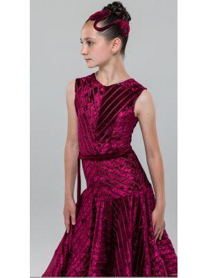 Плаття для бальних танців  №890/1 (велюр смуга)