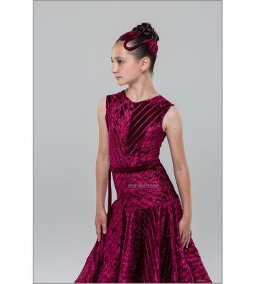 Платье для бальных танцев №890/1 (велюр полоса)