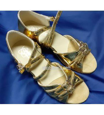 Туфлі для бальних танців на дівчинку Club Dance: Б-2 дзеркальне золото яскраве