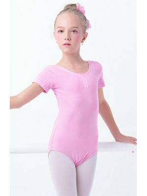 Купальник балетний рожевий гімнастичний для танців довгий, короткий рукав